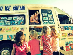 Kids enjoying ice cream truck